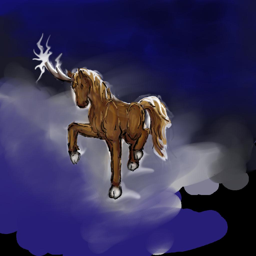 chestnut unicorn shooting lightning bolts stormy background