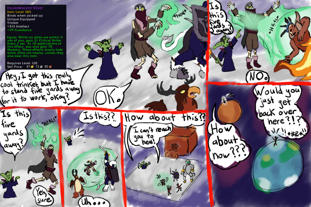 A six-panel comic depicts a goblin misusing his new trinket and getting progressively further away from his healer, eventually ending up on Mars.