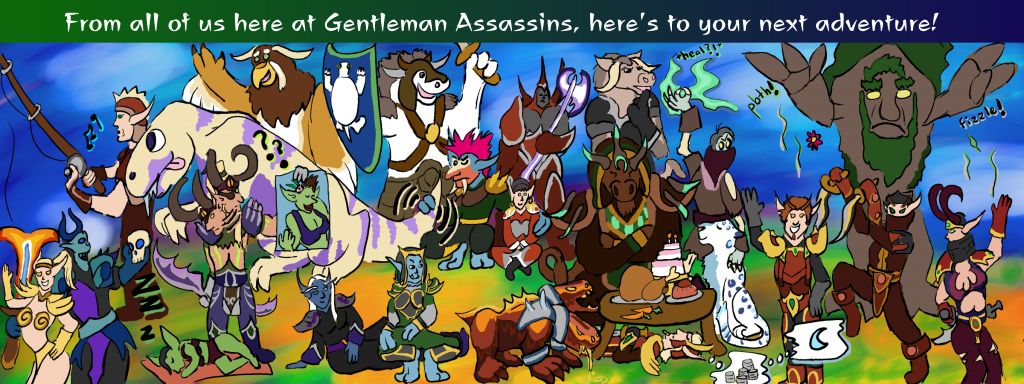 The Gentleman Assassins raid gathers to bid our raid leader Ian a fond farewell! In rough order of appearance, left to right and top to bottom, we have: Ozzel, Lucy, Blakkthorne and/or Sunflower, Crom, Yotingo, Alelsa, Bleekshril, Gobdruid, Friend, Shiften, Tandralyne, Krampus, Sortiara, Razorfist, Alunetien, Arrowkeys, Joystick, Casals, Tyrdan, RAV, Allardel, Jacob, and Bealeida.