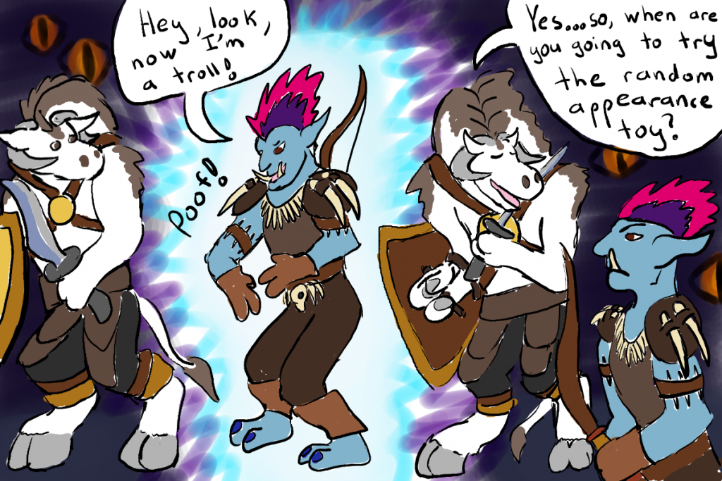 A white tauren tells his raid member he couldn't tell the difference between his troll transmogrification and his usual elf appearance.