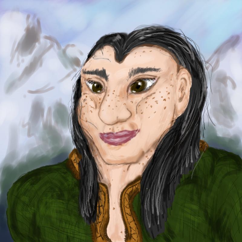 portrait of female dwarf with black hair