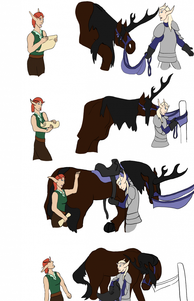 Unfinished version of the Trials, Page 4, showing two elves arguing with each other while one of them ties up and untacks a unicorn.