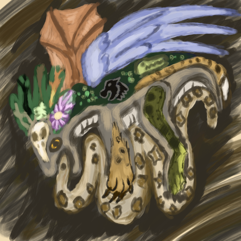 Digitized Acrylic painting of an Argonian (lizardman) biting a snake. The lizardman has body parts of multiple animals, including a panther, frog, bird, and bat. It has a headdress made of leaves and a bird's skull.