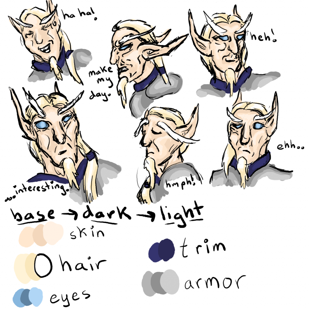 Six facial expressions for Keelath, and a color chart