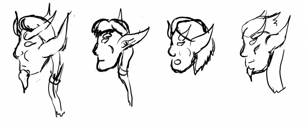 Side views of the faces of Keelath, Evelos, Mirium, and Tyrdan.