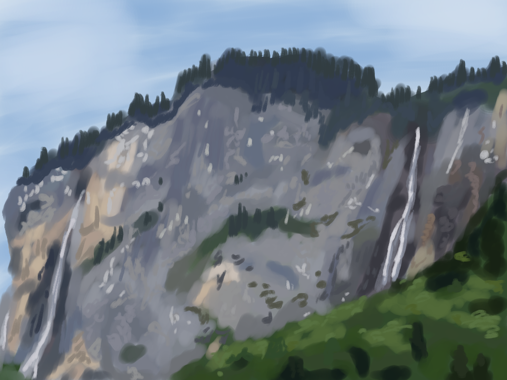 A painting of a shale cliff in the Alps.