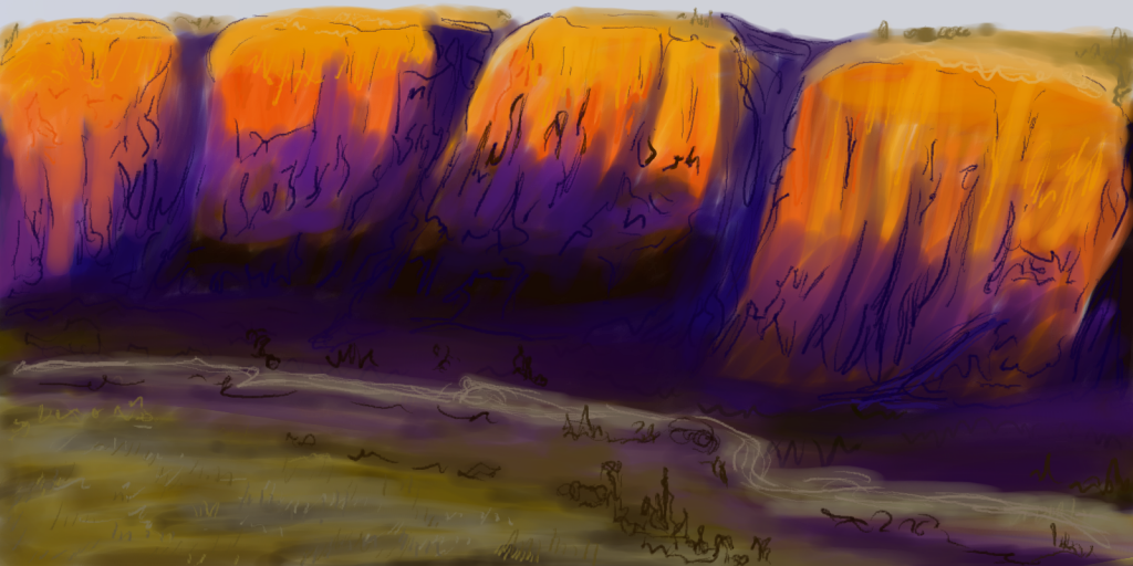 Digital painting of red cliffs overlooking a river at sunset.