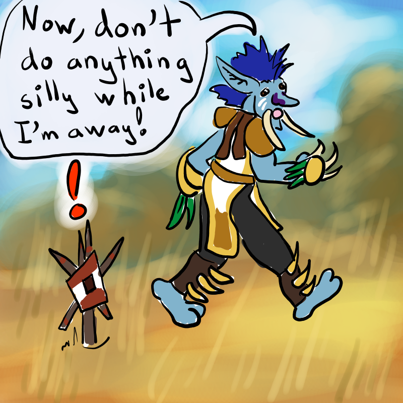 A troll shaman walks away from his totem, telling it to behave while he's gone.