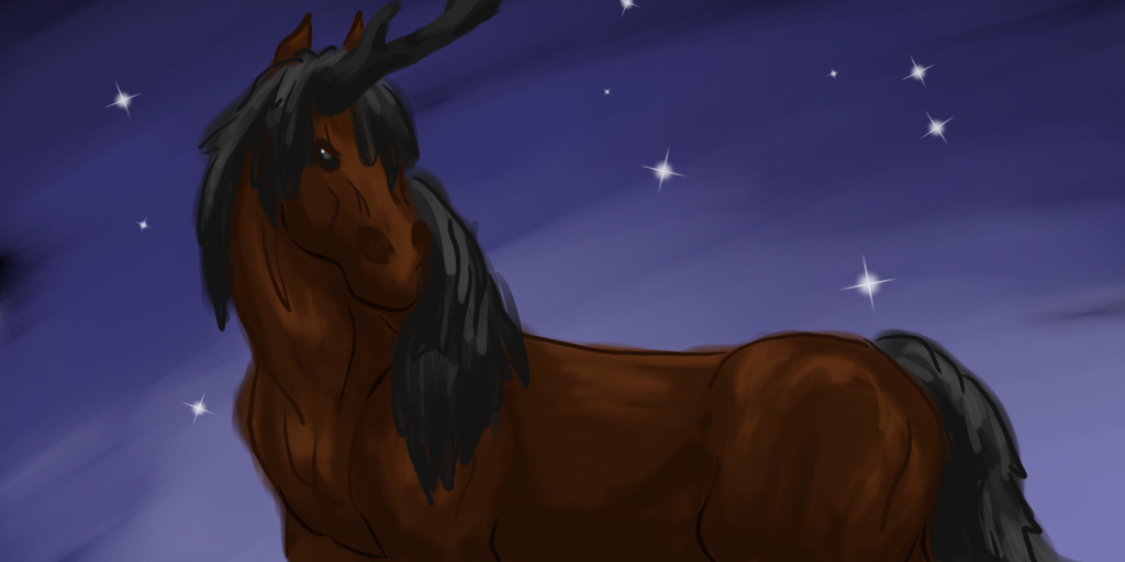 Painting of a dark bay unicorn against a starry twilight background.