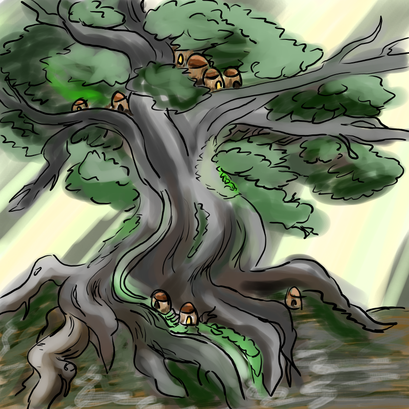 A rough painting of a Falinesti, or walking tree that houses wood elves.
