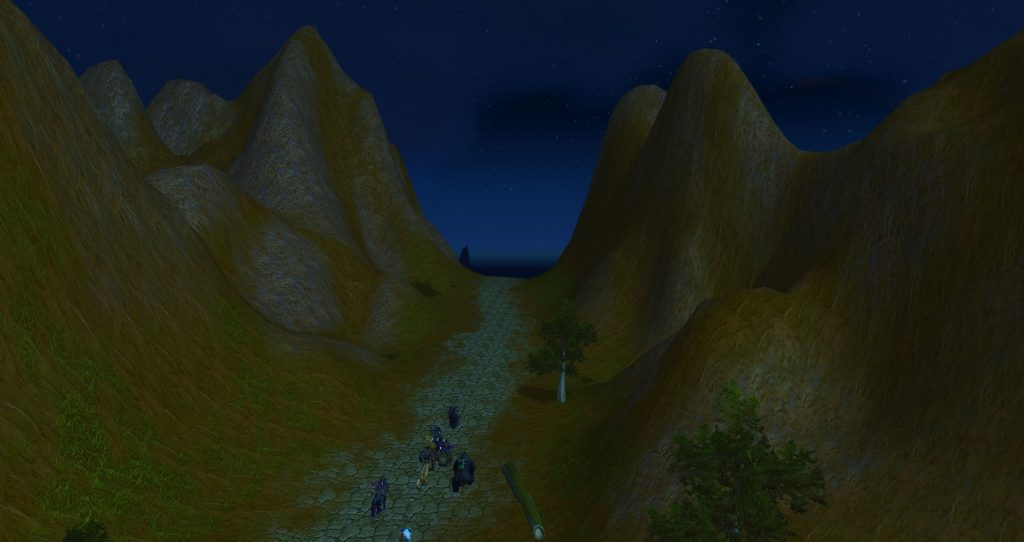 Da Doctas Tour skirts the Redridge Mountains through a secret pass. Night has fallen.