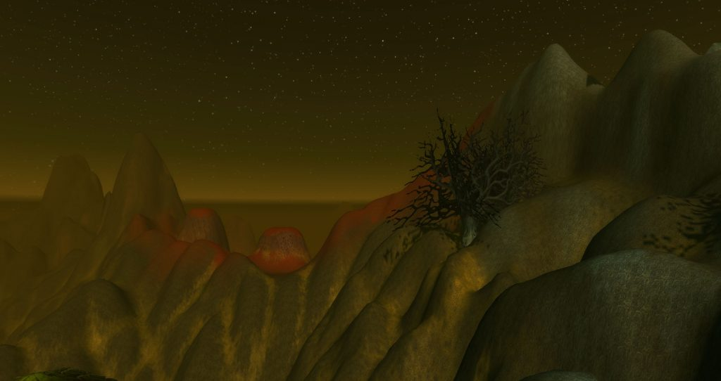 The red of the Blasted Lands can just be seen over the hills on the edges of the Swamp of Sorrows