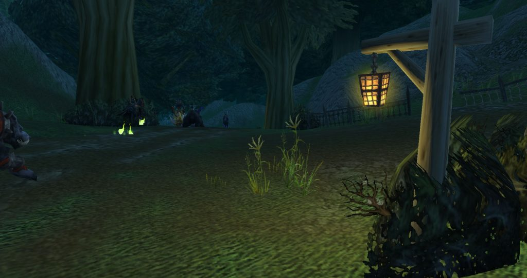 Da Doctas Tour continue into Duskwood. A hanging lantern chases away the gloom