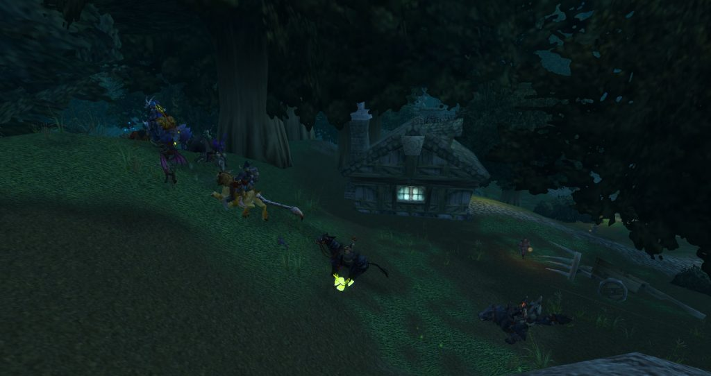 Da Doctas Tour sneaks past the town of Darkshire in Duskwood