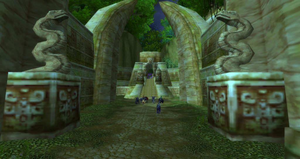 Da Doctas Tour pauses at the entrance to Zul'Gurub in Northern Stranglethorn