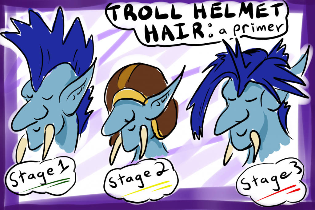 A cartoon showing the three stages of troll helmet hair.