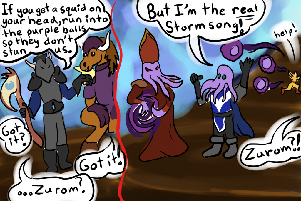 Comic depicting Keelath the death knights giving the fight strategy for the Lord Stormsong boss while Zurom the warlock ignores it