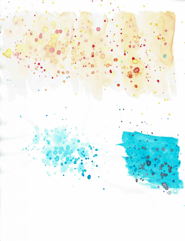 yellow and blue dot splattering