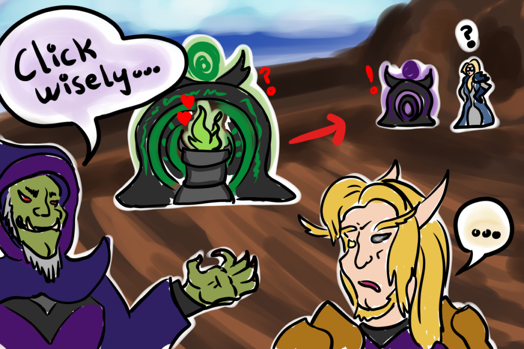 Comic of an orc warlock who summoned a Demonic Gateway on top of his Soulwell while his guild fought Mythic-difficulty Jaina.