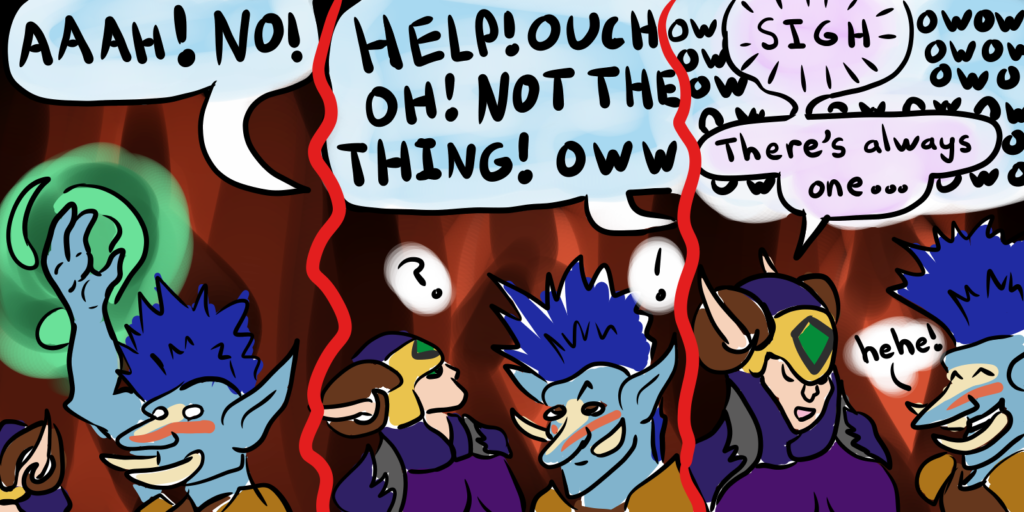 Comic with Yotingo the troll and Sisqa the demon hunter listening to a raid member yelling.