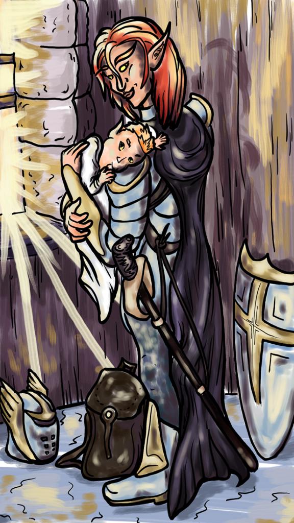 digital art portrait of Mirum, blood elf paladin, holding Aubraan, her infant son, upfront of a light-filled window