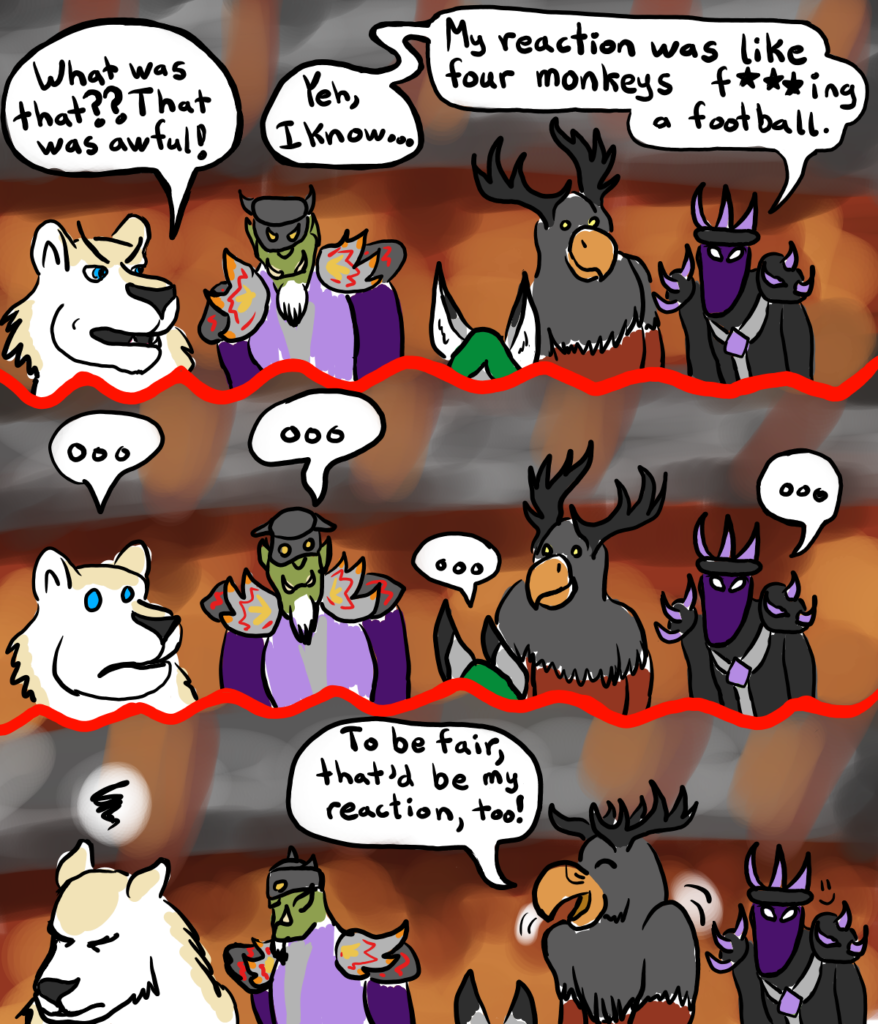 a web comic depicting a World of Warcraft raid reacting to an inappropriate remark from Dorasmus the undead mage