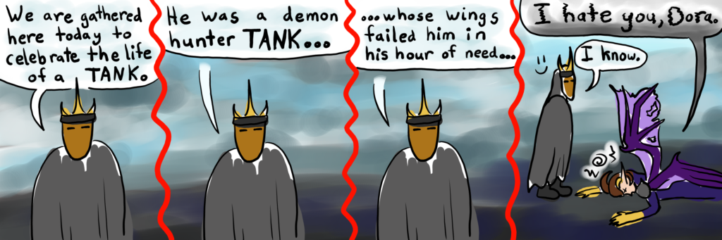 comic of Dorasmus, the undead mage, giving Siqsa the demon hunter a eulogy