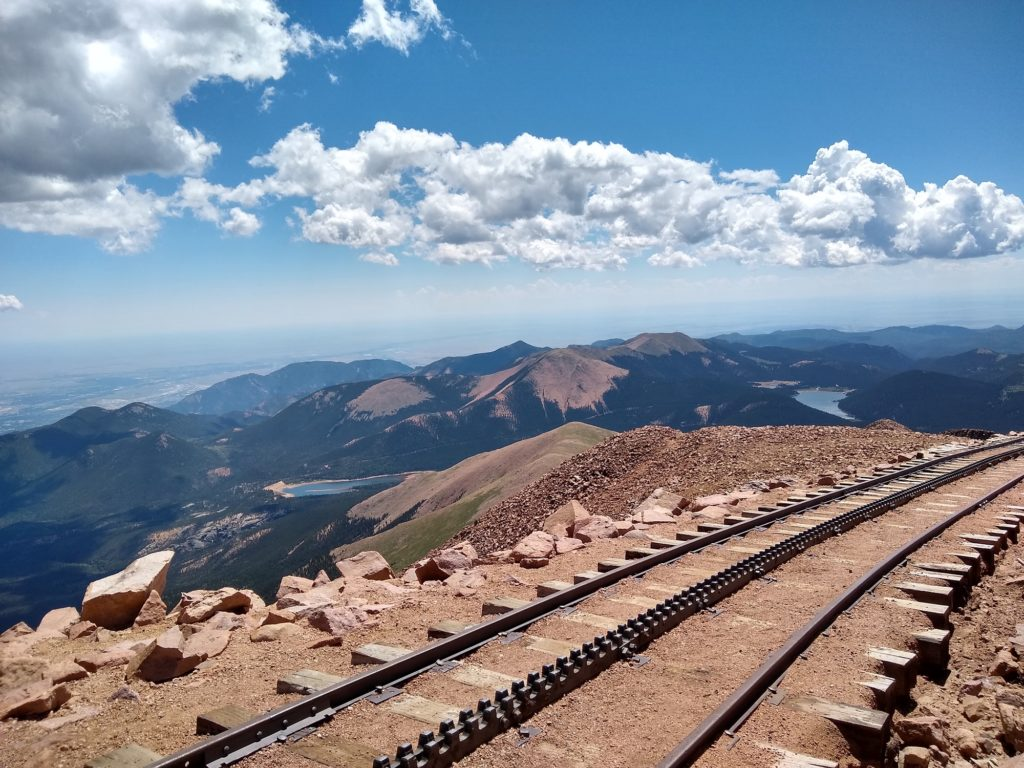 photo of the cog railroad at the top of Pikes Peak, Colorado, USA